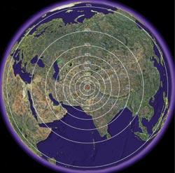 Círculos de probabilidad que muestran donde podría localizarse Bin Laden. Marisol Collazos