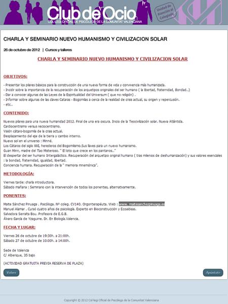 Noticias criminología. Los disparates del Colegio de Psicólogos de la Comunidad Valenciana . Marisol Collazos Soto