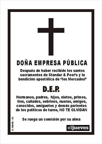 Noticias Criminología. Esquela de las empresas públicas en España, eliminadas por el PP. Marisol Collazos Soto