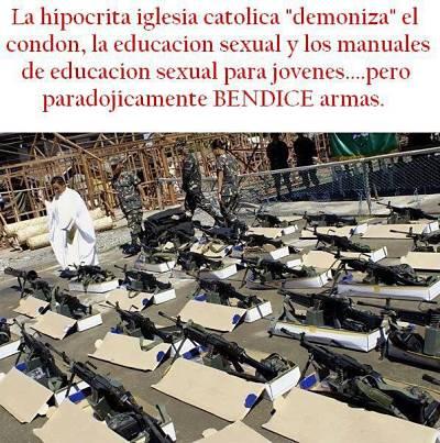 Noticias criminología. Hipocresía de la Iglesia Católica, ... bendice armas. Marisol Collazos Soto