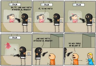 Noticias Criminología. Humor, atraco a un banco. Marisol Collazos Soto