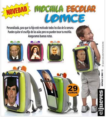 Noticias criminología. Nuevas mochilas escolares LOMCE. Marisol Collazos Soto