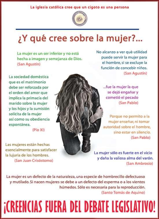 Noticias Criminología. Cómo considera de mal la Iglesia Católica a la mujer. Marisol Collazos Soto