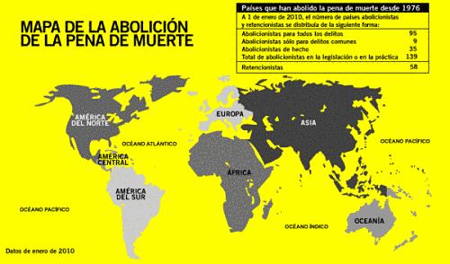 Marisol Collazos Soto. Mapa pena de muerte en el mundo