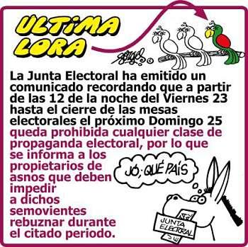 Noticias Criminología. La junta electoral prohibe rebuznar a los asnos del Partiod Popular. Marisol Collazos Soto