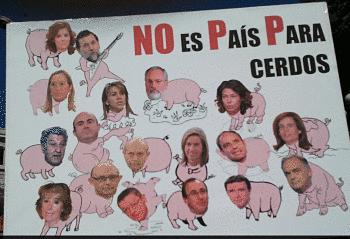 Noticias criminología. Algunas pancartas contra el PP, manifestación del 15 de septiembre, ministros cerdos, PP. Marisol Collazos Soto