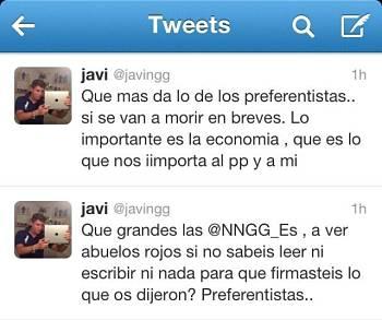 Noticias criminología. Declaraciones insultantes de un miembreo de NNGG del Partido Popular. Marisol Collazos Soto