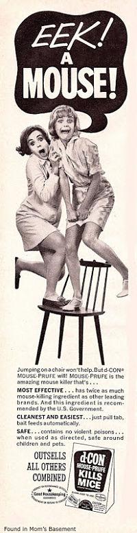 Noticias criminología. Colección de 45 anuncios vintage sexistas. Ratones