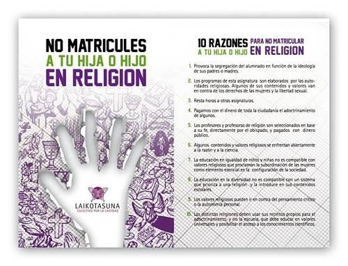 Noticias criminología. No matricules a tu hijo en religion. Marisol Collazos Soto
