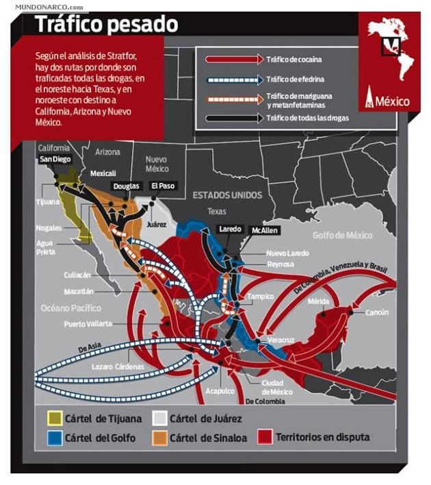 Noticias criminoloía. Infografía rutas droga en México. Marisol Collazos Soto