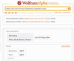 Actualidad Informática. El buscador Wolfram sirve para comparar el costo de vida en diversas ciudades. Rafael Barzanallana. UMU